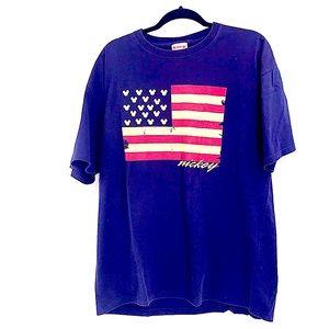 Mickey Disney Americana t shirt size large flag